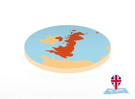 United Kingdom map designed in isometric style, orange circle map of UK for web, infographic and more. 向量圖像