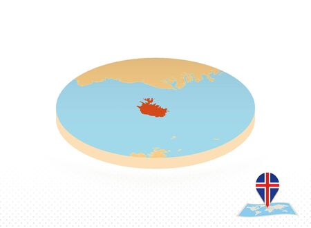 Iceland map designed in isometric style, orange circle map of Iceland for web, infographic and more.
