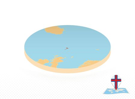 Faroe Islands map designed in isometric style, orange circle map of Faroe Islands for web, infographic and more.