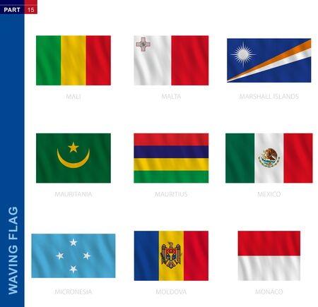 Waving flag collection in official proportion. 9 vector flags: Mali, Malta, Marshall Islands, Mauritania, Mauritius, Mexico, Micronesia, Moldova, Monaco