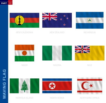 Waving flag collection in official proportion. 9 vector flags: New Caledonia, New Zealand, Nicaragua, Niger, Nigeria, Niue, Norfolk Island, North Korea, Northern Cyprus Ilustracja