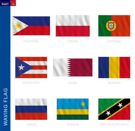 Waving flag collection in official proportion. 9 vector flags: Philippines, Poland, Portugal, Puerto Rico, Qatar, Romania, Russia, Rwanda, Saint Kitts and Nevis