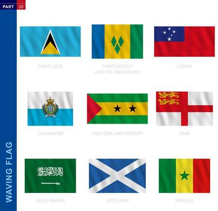 Waving flag collection in official proportion. 9 vector flags: Saint Lucia, Saint Vincent and the Grenadines, Samoa, San Marino, Sao Tome and Principe, Sark, Saudi Arabia, Scotland, Senegal