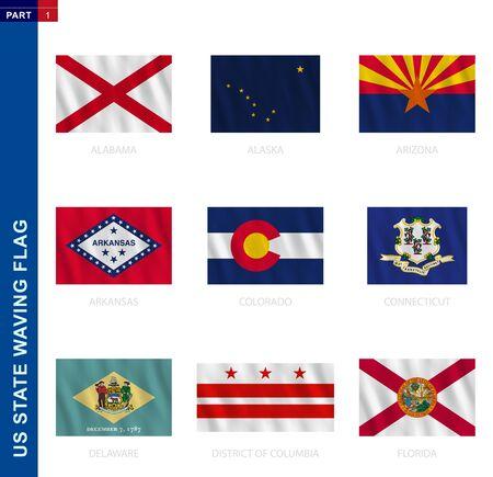 US states waving flag collection in official proportion, 9 vector flags: Alabama, Alaska, Arizona, Arkansas, Colorado, Connecticut, Delaware, District of Columbia, Florida
