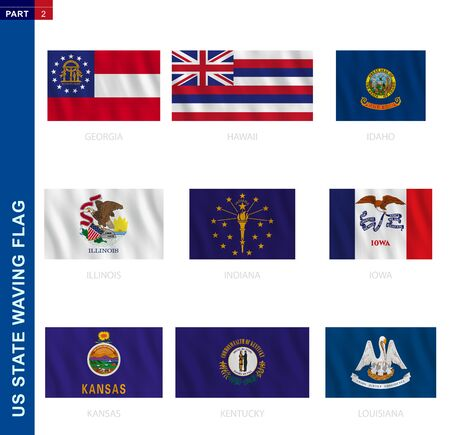 US states waving flag collection in official proportion, 9 vector flags: Georgia, Hawaii, Idaho, Illinois, Indiana, Iowa, Kansas, Kentucky, Louisiana