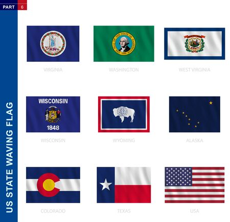 US states waving flag collection in official proportion, 9 vector flags: Virginia, Washington, West Virginia, Wisconsin, Wyoming, Alaska, Colorado, Texas, USA