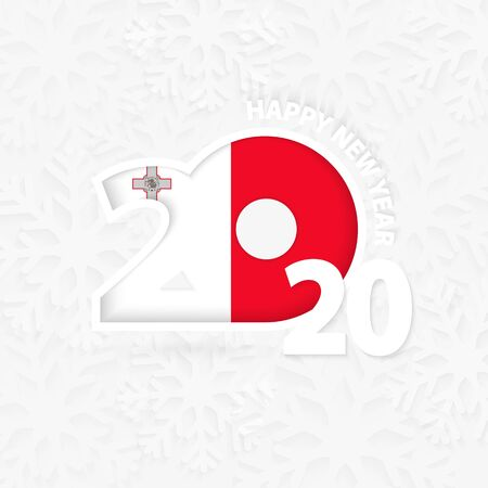 Happy New Year 2020 for Malta on snowflake background. Greeting Malta with new 2020 year.