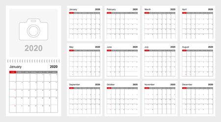 Wall calendar template for 2020 year. Holiday and event planner, week starts on Sunday. Size 12x12 inch. Vector template.