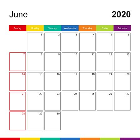 June 2020 colorful wall calendar, week starts on Sunday. 2020 Calendar template. Illustration