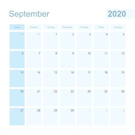 2020 September wall planner in blue color, week starts on Sunday. Calendar for September 2020 with day of previous and next month. Illustration