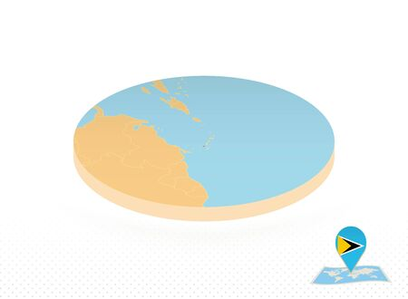 Saint Lucia map designed in isometric style, orange circle map of Saint Lucia for web, infographic and more.