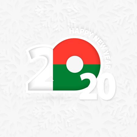 Happy New Year 2020 for Madagascar on snowflake background. Greeting Madagascar with new 2020 year.