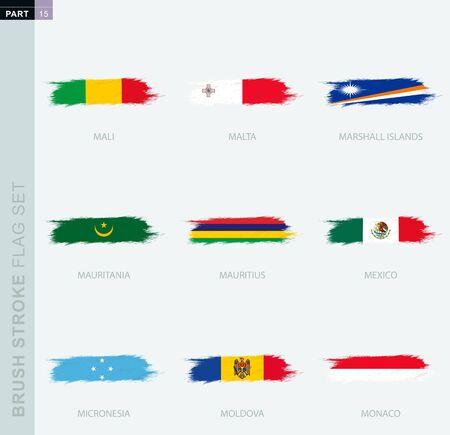 Grunge abstract brush stroke flag set, nine different flag. Vector flag set, part 15