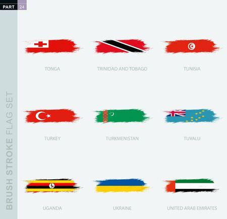 Grunge abstract brush stroke flag set, nine different flag. Vector flag set, part 24. Ilustração