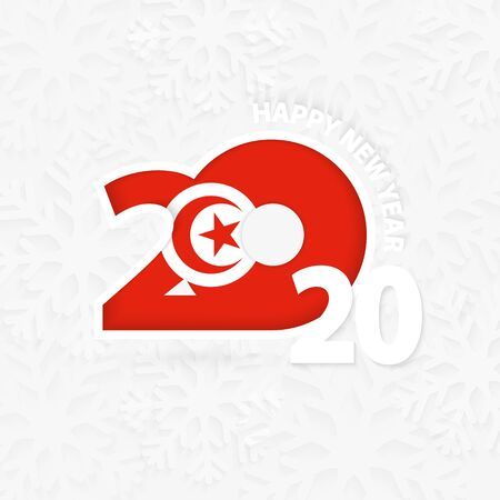 Happy New Year 2020 for Tunisia on snowflake background. Greeting Tunisia with new 2020 year. Ilustração Vetorial