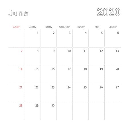 Simple wall calendar for June 2020 with dotted lines. The calendar is in English, week start from Sunday. Vector template.