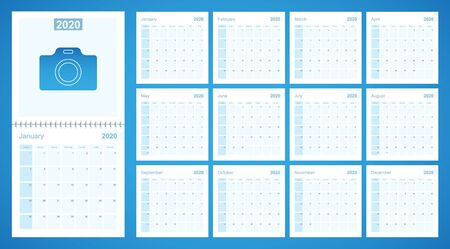 2020 wall planner in blue color, week starts on Sunday. Calendar with day of previous and next month.