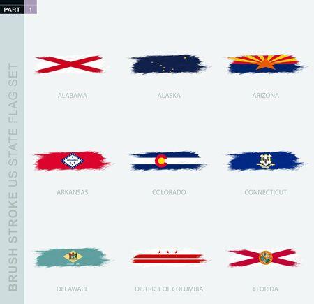 Grunge abstract brush stroke flag set of US States, nine different flag. US State vector flag set, part 1.