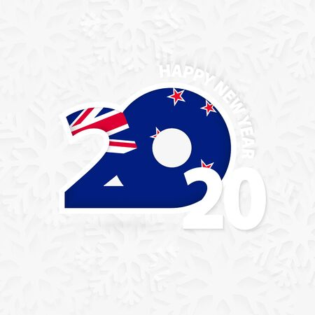 Happy New Year 2020 for New Zealand on snowflake background. Greeting New Zealand with new 2020 year.