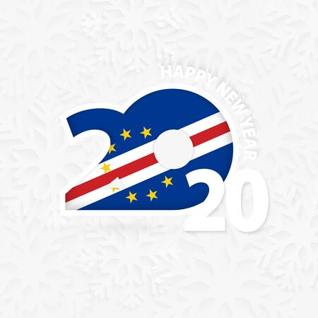 Happy New Year 2020 for Cape Verde on snowflake background. Greeting Cape Verde with new 2020 year. Vectores