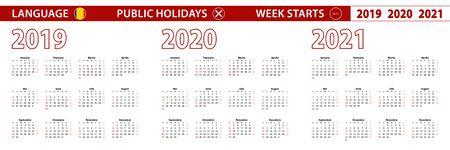 2019, 2020, 2021 year vector calendar in Romanian language, week starts on Sunday. Vector calendar.