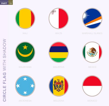 Circle flag with shadow, collection of nine round flag. Vector flags of 9 countries: Mali, Malta, Marshall Islands, Mauritania, Mauritius, Mexico, Micronesia, Moldova, Monaco