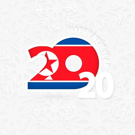Happy New Year 2020 for North Korea on snowflake background. Greeting Korea with new 2020 year.