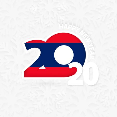 Happy New Year 2020 for Laos on snowflake background. Greeting Laos with new 2020 year. Ilustração