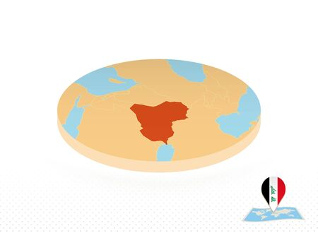 Iraq map designed in isometric style, orange circle map of Iraq for web, infographic and more.