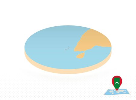 Maldives map designed in isometric style, orange circle map of Maldives for web, infographic and more.
