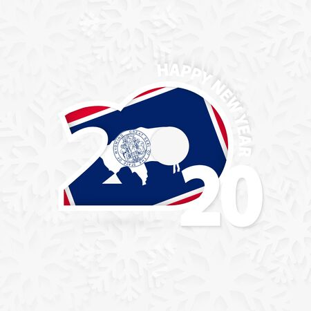Happy New Year 2020 with flag of US state Wyoming on snowflake background. Greeting Wyoming with new 2020 year. Stock fotó - 135891503