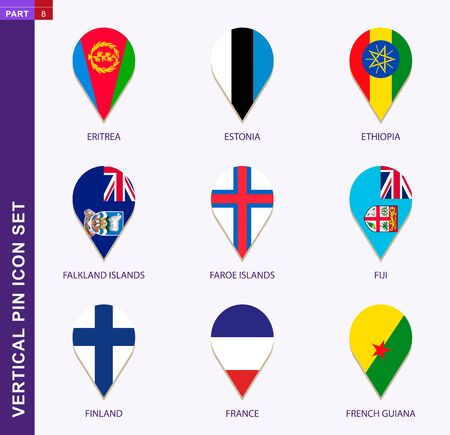 Vertical pin icon set, 9 country flag: Eritrea, Estonia, Ethiopia, Falkland Islands, Faroe Islands, Fiji, Finland, France, French Guiana