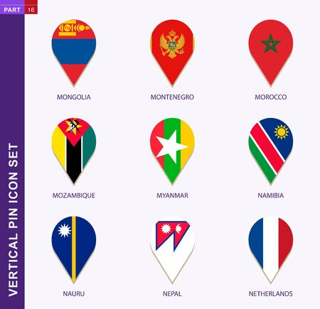 Vertical pin icon set, 9 country flag: Mongolia, Montenegro, Morocco, Mozambique, Myanmar, Namibia, Nauru, Nepal, Netherlands