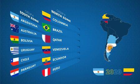 Infographie pour le tournoi de football d'Amérique du Sud 2020 avec drapeau des participants triés par groupe et carte des pays hôtes.