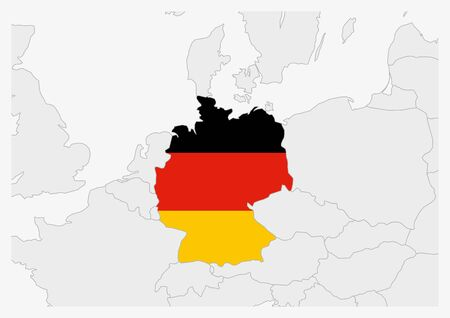 Germany map highlighted in Germany flag colors, gray map with neighboring countries.