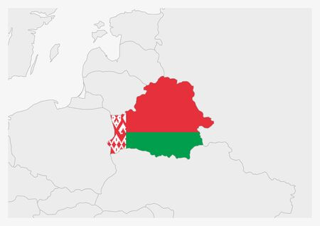 Belarus map highlighted in Belarus flag colors, gray map with neighboring countries.
