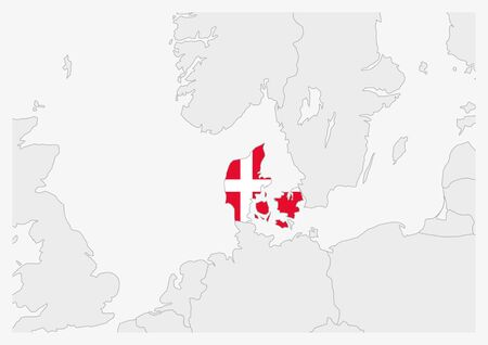 Denmark map highlighted in Denmark flag colors, gray map with neighboring countries.