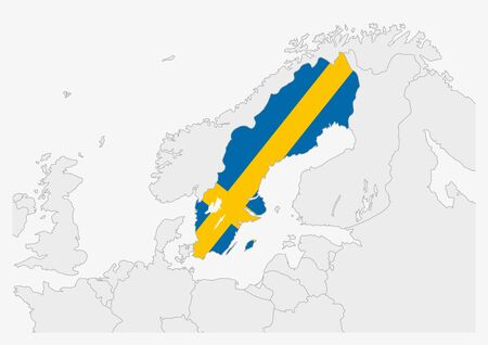 Sweden map highlighted in Sweden flag colors, gray map with neighboring countries.