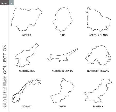 Outline maps collection, nine black lined vector map of Nigeria, Niue, Norfolk Island, North Korea, Northern Cyprus, Northern Ireland, Norway, Oman, Pakistan