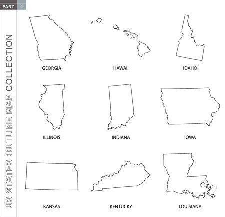 Outline maps of US states collection, nine black lined vector map of Georgia, Hawaii, Idaho, Illinois, Indiana, Iowa, Kansas, Kentucky, Louisiana  イラスト・ベクター素材