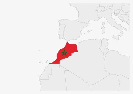 Morocco map highlighted in Morocco flag colors, gray map with neighboring countries.