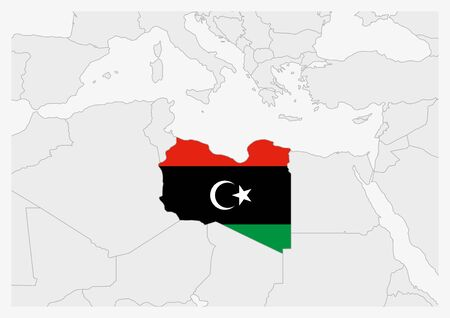 Libya map highlighted in Libya flag colors, gray map with neighboring countries.