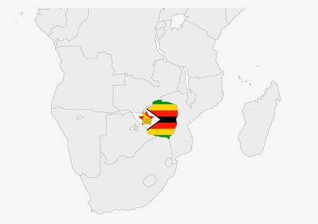 Zimbabwe map highlighted in Zimbabwe flag colors, gray map with neighboring countries. Vectores