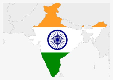 India map highlighted in India flag colors, gray map with neighboring countries.