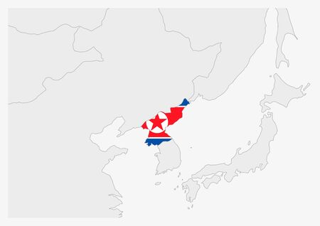 North Korea map highlighted in North Korea flag colors, gray map with neighboring countries. Illustration