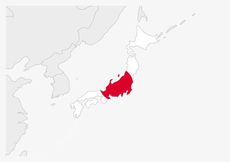Japan map highlighted in Japan flag colors, gray map with neighboring countries. Illustration