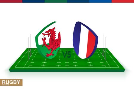 Rugby team Wales vs France on green rugby field, Wales and France team in rugby championship.