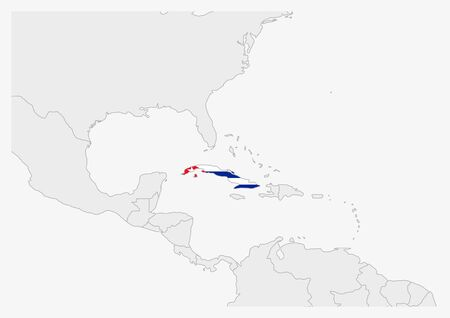 Cuba map highlighted in Cuba flag colors, gray map with neighboring countries.