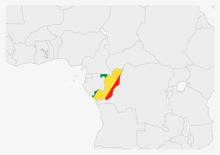 Congo map highlighted in Congo flag colors, gray map with neighboring countries. Vetores