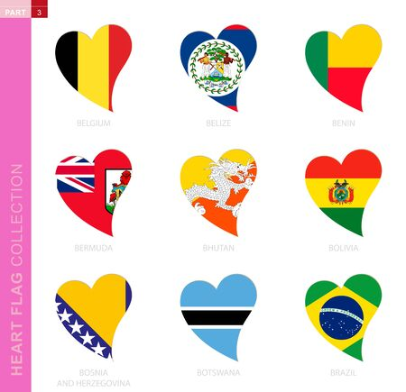 Ð¡ollection of flags in the shape of a heart. 9 heart icon with flag of country Belgium, Belize, Benin, Bermuda, Bhutan, Bolivia, Bosnia and Herzegovina, Botswana, Brazil